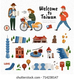Taiwan Attraction Set, famous architecture and landmark isolated on white background with three travelers
