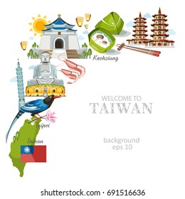 Taiwan background with traditional architecture sights and symbols