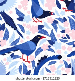 Taiwan blue bird among the leaves and pink flowers seamless pattern. Azure magpie is the symbol of Taiwan. Background from exotic birds of Asia. Urocissa caerulea. Flat vector illustration