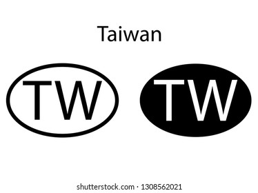 Taiwan country code icon.  Iso code country domain name.  TW - Taiwan abbreviated. vector