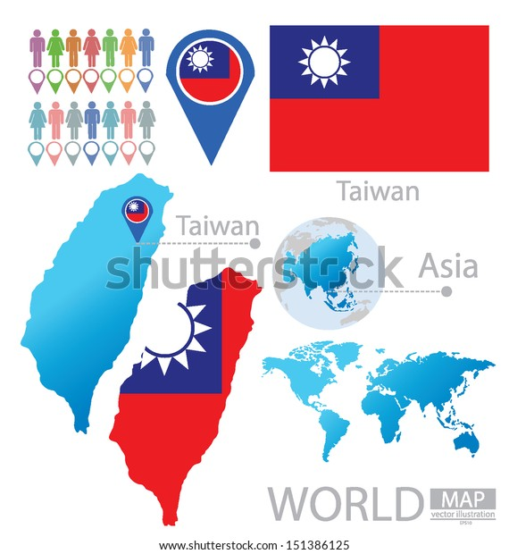 Map Of Asia Taiwan.Taiwan Flag Asia World Map Vector Stock Vector Royalty Free 151386125