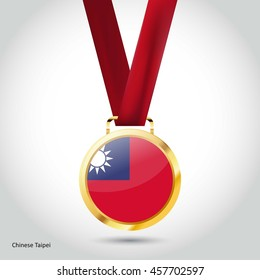 Taiwan Flag in gold Medal. Vector Illustration. RIO Olympic Game gold Medal. Vector Illustration