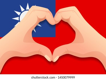 Taiwan flag and hand heart shape. Patriotic background. National flag of Taiwan vector illustration