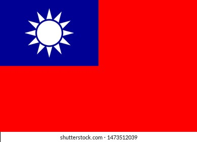 Taiwan flag with official colors and the aspect ratio of 2:3. Flat vector illustration.
