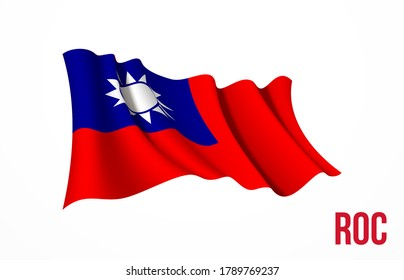 Taiwan flag state symbol isolated on background national banner. Greeting card National Independence Day of the republic of China. Illustration banner with realistic state flag of ROC.