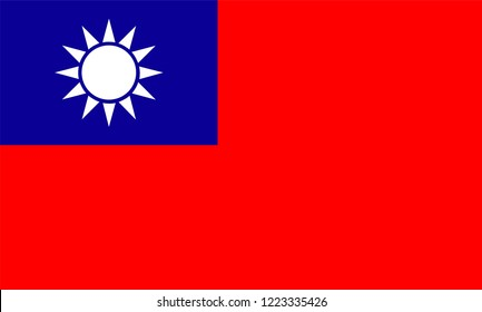 Taiwan Flag, Vector image and icon