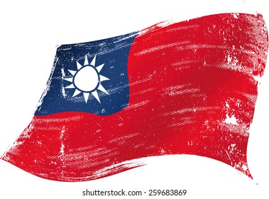 Taiwan grunge flag. Taiwanese grunge flag with a texture in the wind