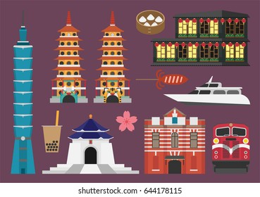 Taiwan illustration, vector, landmark, treavel, food, culture