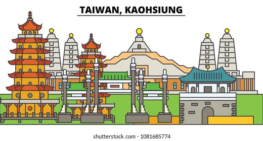 Taiwan, Kaohsiung. City skyline, architecture, buildings, streets, silhouette, landscape, panorama, landmarks. Editable strokes. Flat design line vector illustration concept. Isolated icons