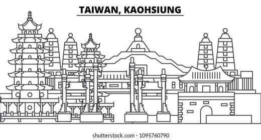 Taiwan, Kaohsiung line skyline vector illustration. Taiwan, Kaohsiung linear cityscape with famous landmarks, city sights, vector landscape.
