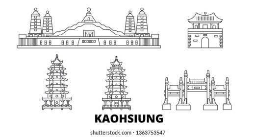 Taiwan, Kaohsiung line travel skyline set. Taiwan, Kaohsiung outline city vector illustration, symbol, travel sights, landmarks.