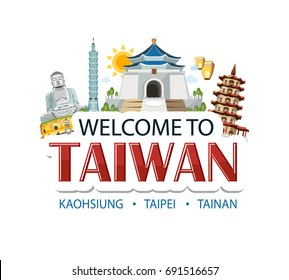 Taiwan lettering sticker header message with traditional sights architecture symbols of country capital
