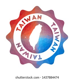 Taiwan low poly logo. Colorful gradient travel logo of the country in geometric style. Multicolored polygonal Taiwan rounded sign with map for your infographics.