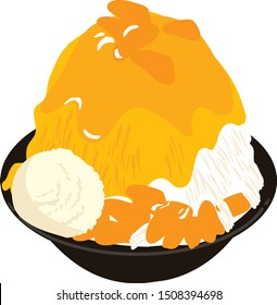 Taiwan mango shaved ice vector illustration on white background.