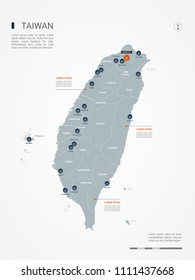 Taiwan map with borders, cities, capital Taipei and administrative divisions. Infographic vector map. Editable layers clearly labeled.