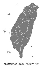 Taiwan Map with counties grey