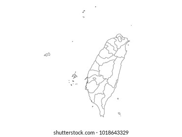 taiwan map with country borders, thin black outline on white background. High detailed vector map with counties/regions/states - taiwan. contour, shape, outline, on white.