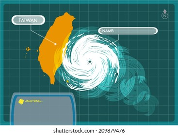 Taiwan Map with Eye of Typhoon, Cyclone or Storm Vector. Editable Clip Art.