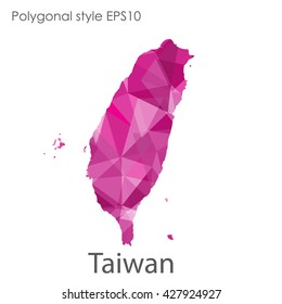Taiwan map in geometric polygonal style.Abstract gems triangle,modern design background.