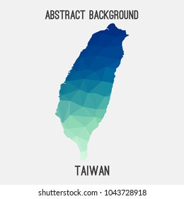Taiwan map in geometric polygonal,mosaic style.Abstract tessellation,modern design background,low poly. Geometric cover, mockup. Vector illustration.