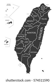 Taiwan Map labelled black illustration