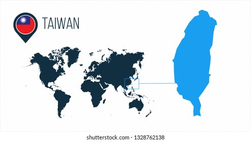 Taiwan map located on a world map with flag and map pointer or pin. Infographic map. Vector illustration isolated on white background.