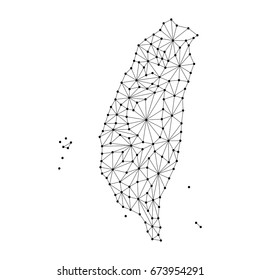 Taiwan map of polygonal mosaic lines network, rays and dots vector illustration.