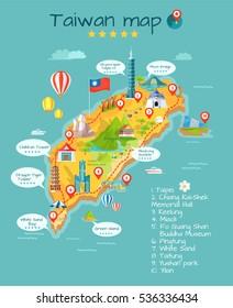 Taiwan map with sightseeing. Taipei. Chiang Kai-shek memorial hall. Keelung. Miaoli. Fo Guang Shan Buddha museum. Pingtung. White sand. Taitung. Yushan park. Yilan. Moon bridge, skyscraper. Vector