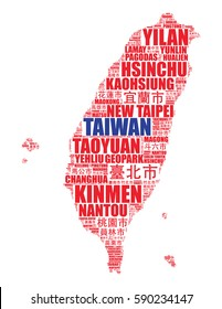 Taiwan map silhouette vector tag cloud