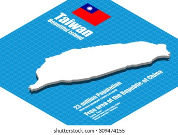 Taiwan map vector three dimensional