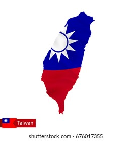Taiwan map with waving flag of country. Vector illustration.