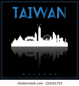 Taiwan, skyline silhouette vector design on parliament blue and black background.
