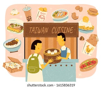 Taiwan street food vendor with plenty of delicious cuisines in hand drawn style