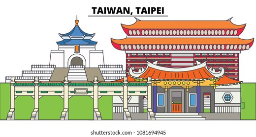 Taiwan, Taipei. City skyline, architecture, buildings, streets, silhouette, landscape, panorama, landmarks. Editable strokes. Flat design line vector illustration concept. Isolated icons