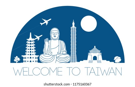 Taiwan top famous landmark silhouette in half circle shape with blue color style,travel and tourism,vector illustration