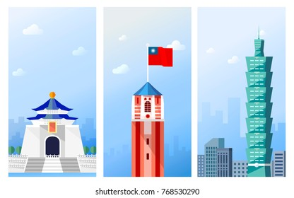 Taiwan travel concept, famous attraction in Taipei in flat design