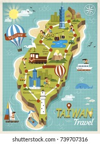 Taiwan travel concept map, lovely landmarks in flat style