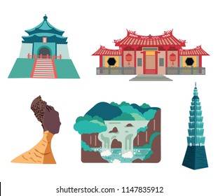 Taiwan travel element set with famous places isolated on white background, flat design, illustration, vector