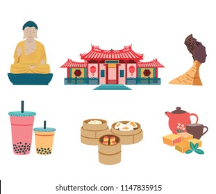 Taiwan travel element set with famous places and foods, isolated on white background, flat design, illustration, vector