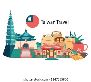 Taiwan travel with famous landmarks and foods, all in flat style background banner, illustration, vector