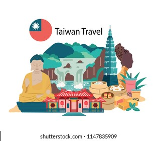 Taiwan travel with famous landmarks and foods, all in flat style background , banner, illustration, vector