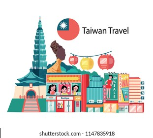 Taiwan travel with famous landmarks and shopping district, called Ximending, all in flat style background, banner, illustration, vector