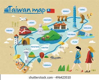 Taiwan travel map, all english version, relaxing style