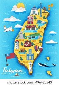 Taiwan travel map with chinese words writing The Redhouse on the red building