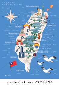 Taiwan travel poster, taiwan map with famous attractions