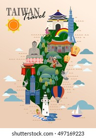Taiwan travel poster, taiwan map with famous attractions. Blessed and happy in Chinese on the sky lantern.