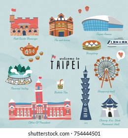 Taiwan travel symbols collection, hand drawn style famous attractions and delicious snacks in Taipei