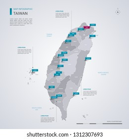 Taiwan vector map with infographic elements, pointer marks. Editable template with regions, cities and capital Taipei.