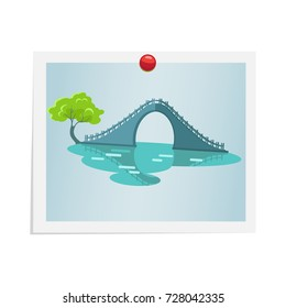 Taiwanese bridge with stairs and handles, oval empty space under it near tree on photograph isolated on white. Vector colorful illustration in flat design of attached picture by red drawing pin