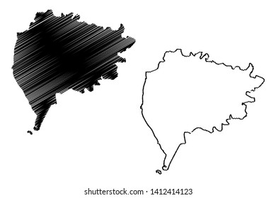 Taiz Governorate (Governorates of Yemen, Republic of Yemen) map vector illustration, scribble sketch Ta'izz map